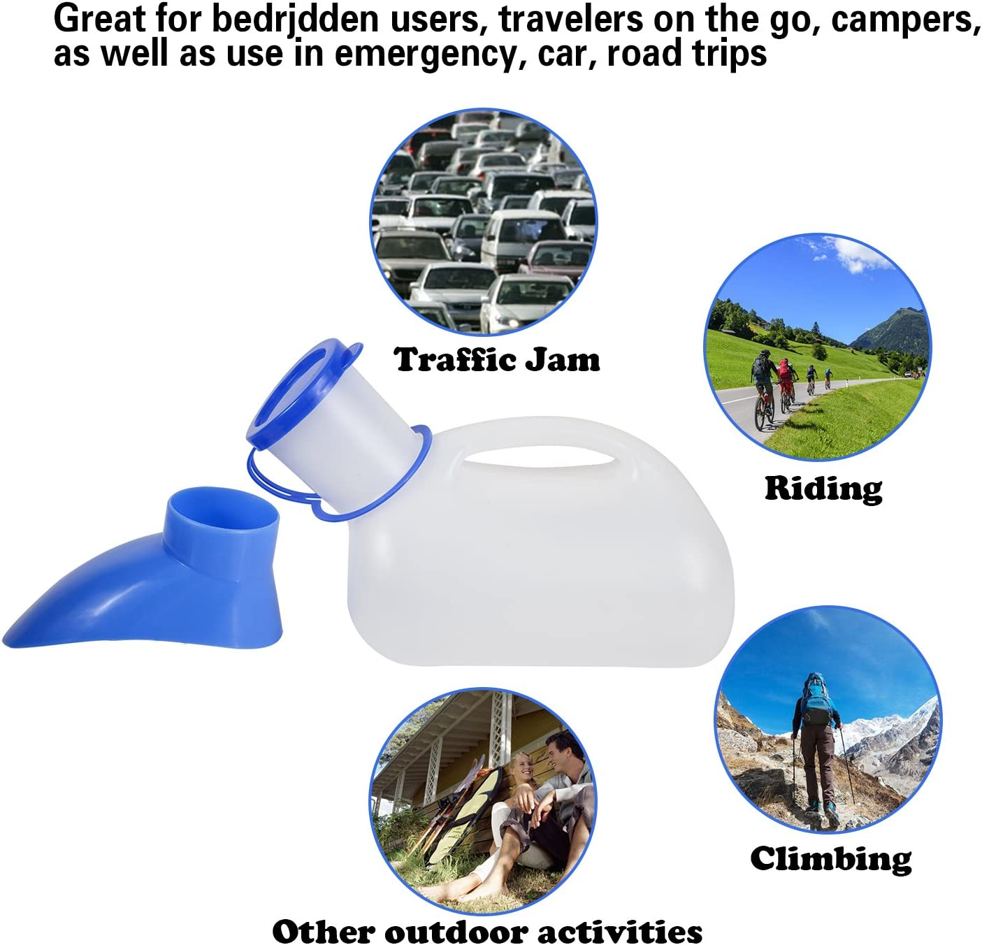 Pee Bottle with Lid and Funnel Travel Urinal Kit for Camping Outdoor with Carry Bag ADENG Unisex Urinal Bottle for Men and Women