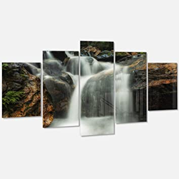 amazon designart mt11597 373 slow motion waterfall on rocks