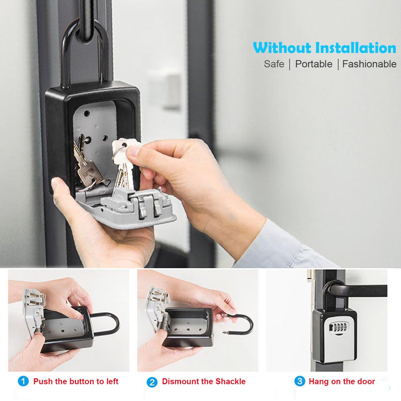 KIPRUN Key Storage Lock Box, 4-Digit Combination Lock Box, Wall Mounted Lock Box, Resettable Code (Belt Hook) by KIPRUN (Image #6)