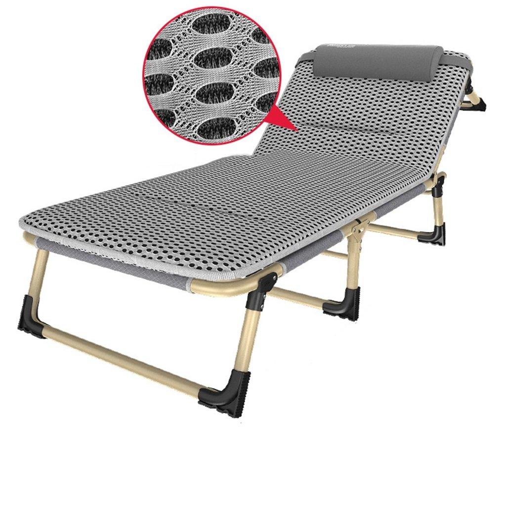 灰色のビーチ折り畳み式ラウンジチェアヘビーピース屋外キャンプ用パティオポータブルローンチェア、金属、300キロ (色 : グレー) B07DLYKXH5 グレー グレー