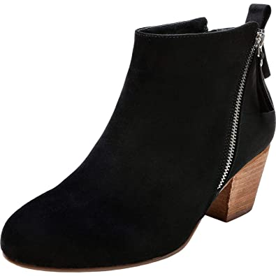 d110942277cb Women s Wide Width Ankle Boots - Low Chunky Block Stacked Heel Side Zipper  Round Toe Booties