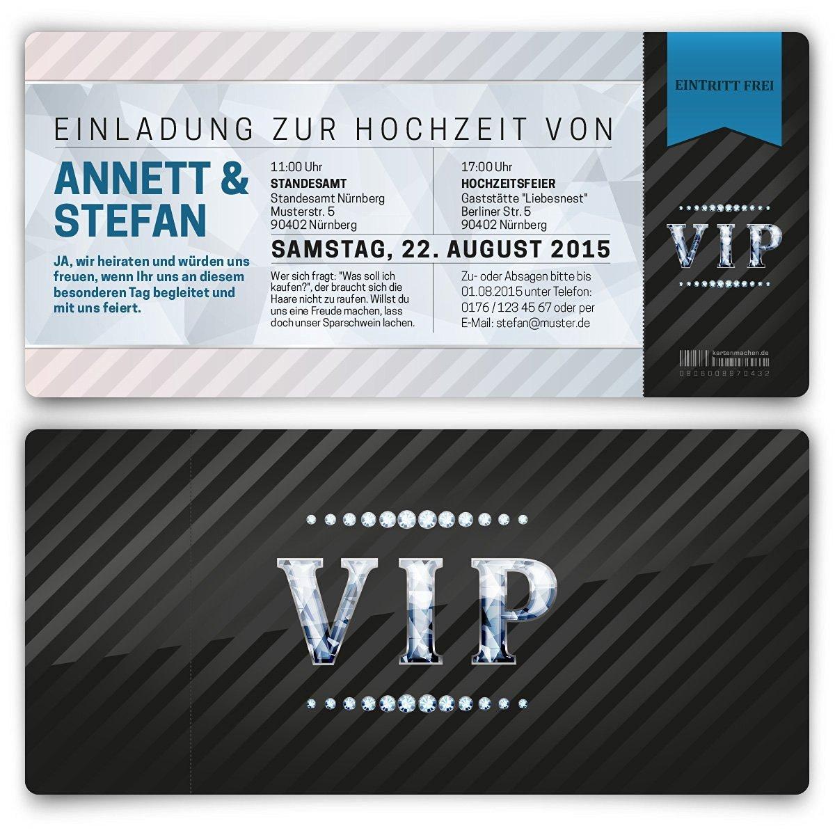 Einladungskarten zur hochzeit 20 stück als eintrittskarte vip ticket einladung uv lack amazon de bürobedarf schreibwaren