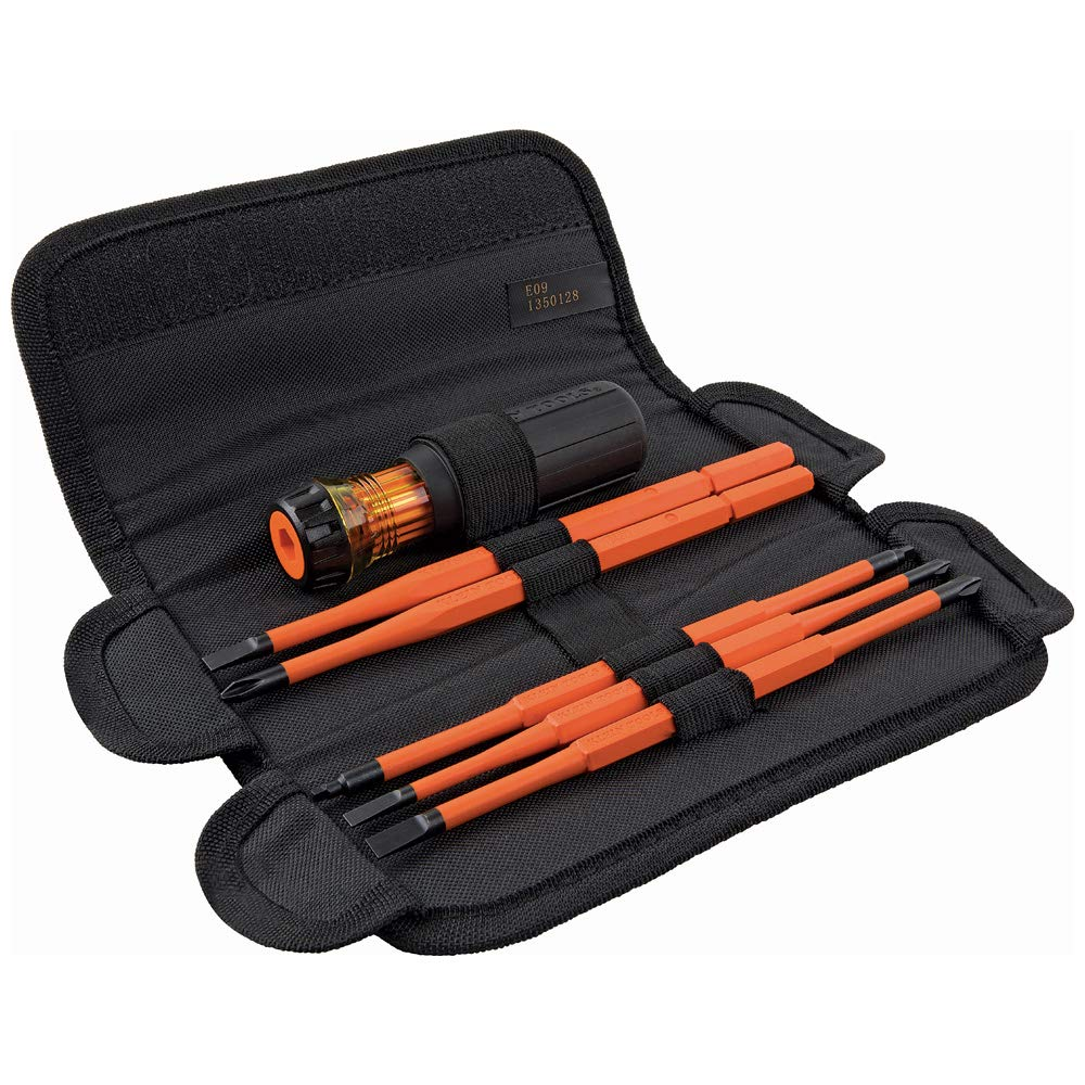 Klein Tools 32288 Insulated Screwdriver, 8-in-1 Screwdriver Set with Interchangeable Blades, 3 Phillips, 3 Slotted and 2 Square Tips by Klein Tools