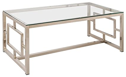 Ordinaire Coaster Occasional Group Contemporary Nickel Coffee Table With Glass Table  Top And Geometric Motif