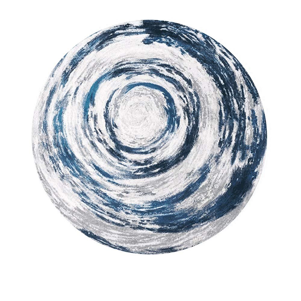 ZCXBB Round Carpet Modern Minimalist Wind Basket Swivel Chair Living Room Bedroom Mat Study Cloakroom IKEA (Color : Blue, Size : XL)
