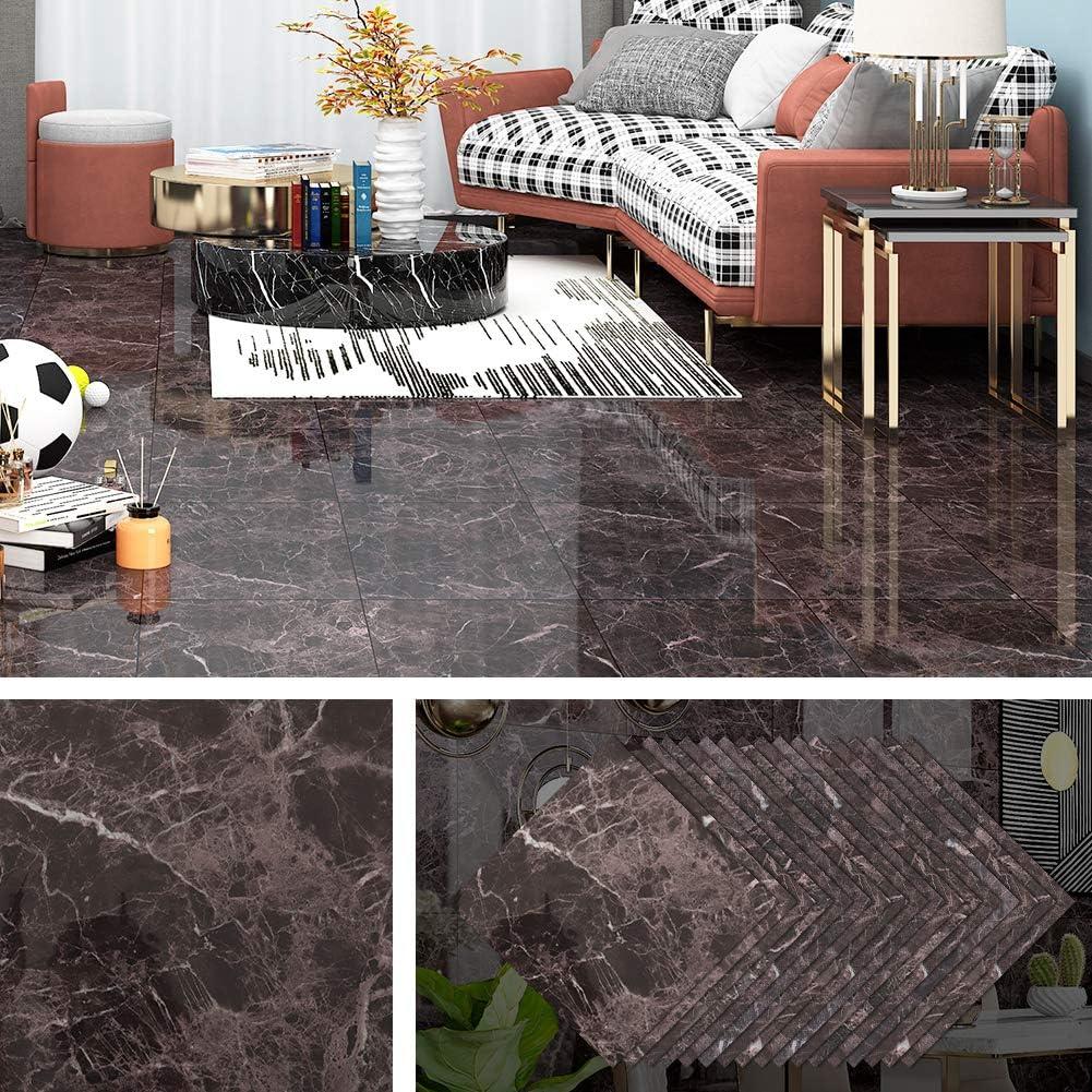 Livelynine Peel and Stick Floor Tile Black Marble Vinyl Flooring Tile Stickers for Kitchen Backsplash Bedroom Laundry Stairs Waterproof Floor Tiles 12x12 Inch 16 Pack