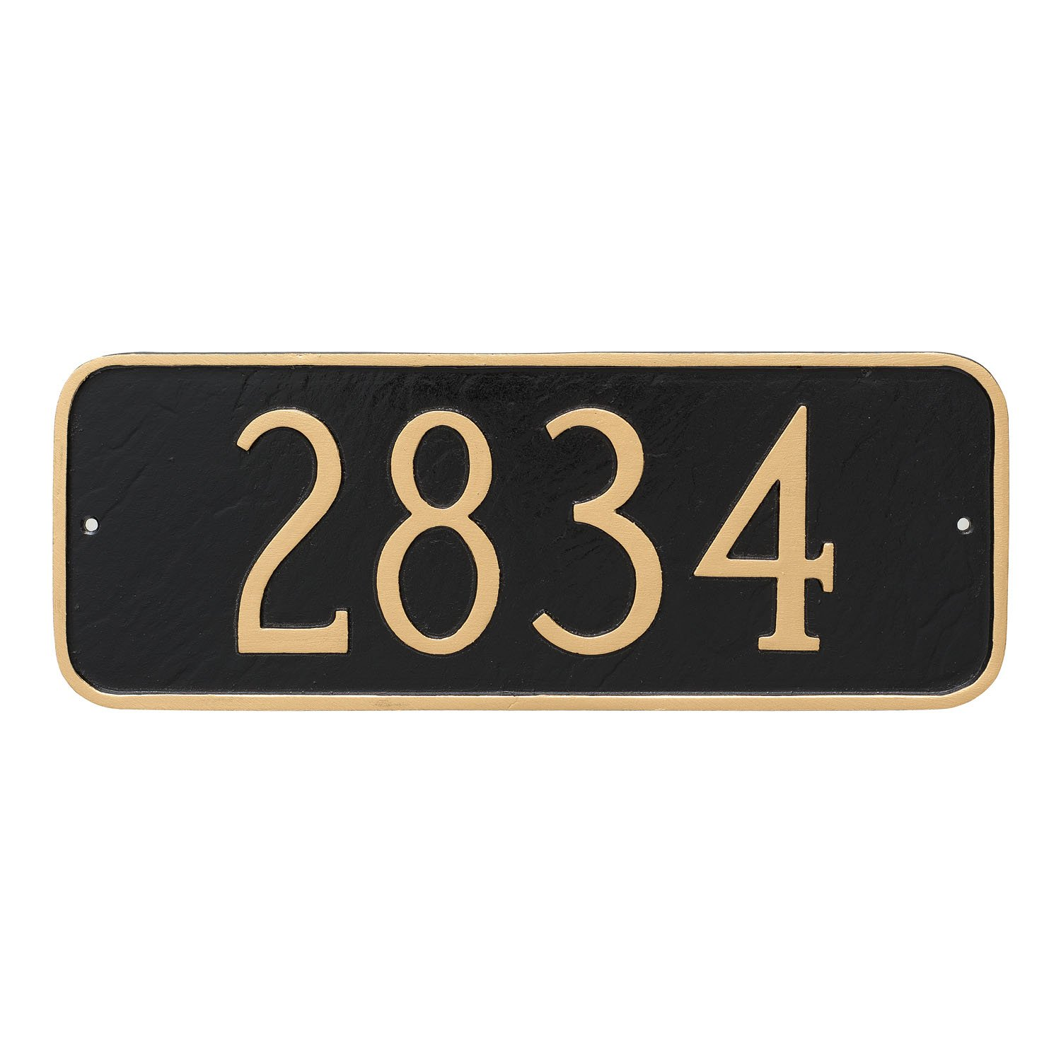 Montague Metal Rectangle Address Plaque Sign, 6'' x 15.75'', Aged Bronze/Gold