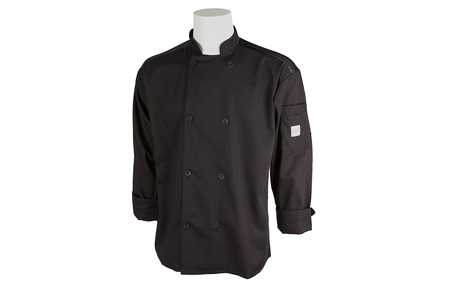 Mercer Culinary M60017BKS Millennia Air Mens Black Cook Jacket with Full Mesh Back Small