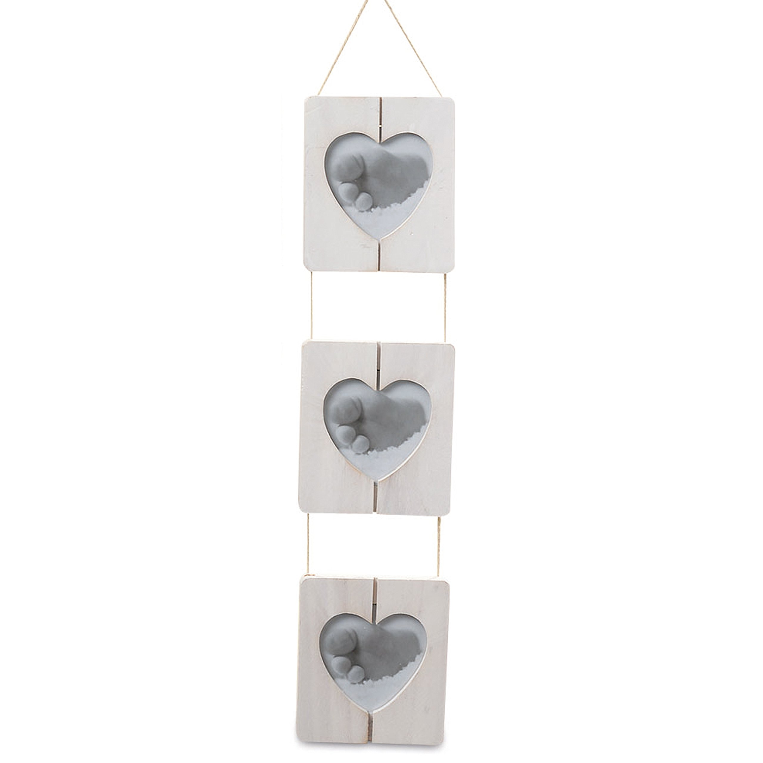 Whole House Worlds The Farmer's Market Trio of Heart Photo Frames, Shiplap, Natural Twine, Rustic Gray White Wood, Crafted By Hand, 4 3/4 Wide, 20 Inches Long, By