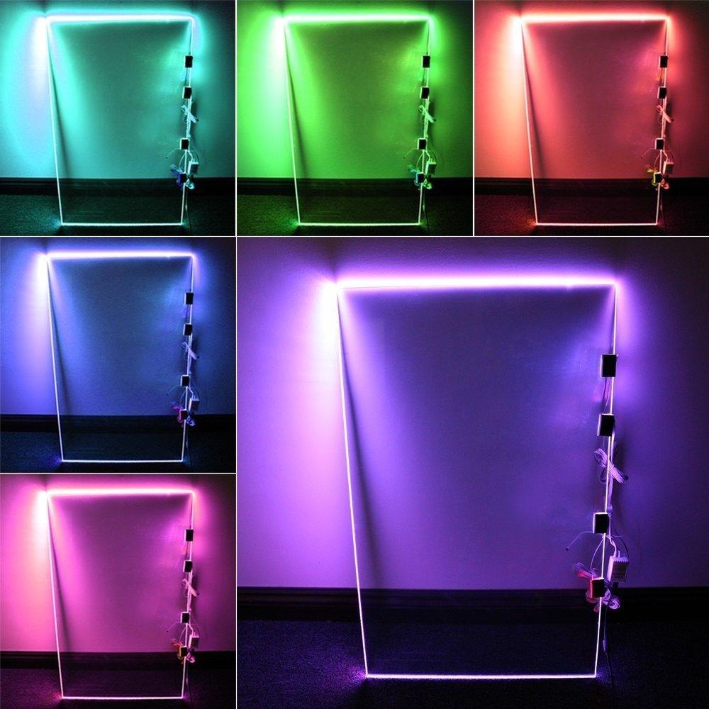 RGB LED Glass Edge Lighting Kit  4pcs RGB LED Glass Shelf Lights   RGB  Controller   IR Remote   Power Adapter for Glass Shelf  Glass Cabinet   Countertop   RGB LED Glass Edge Lighting Kit  4pcs RGB LED Glass Shelf Lights    . Glass Shelf Lighting. Home Design Ideas