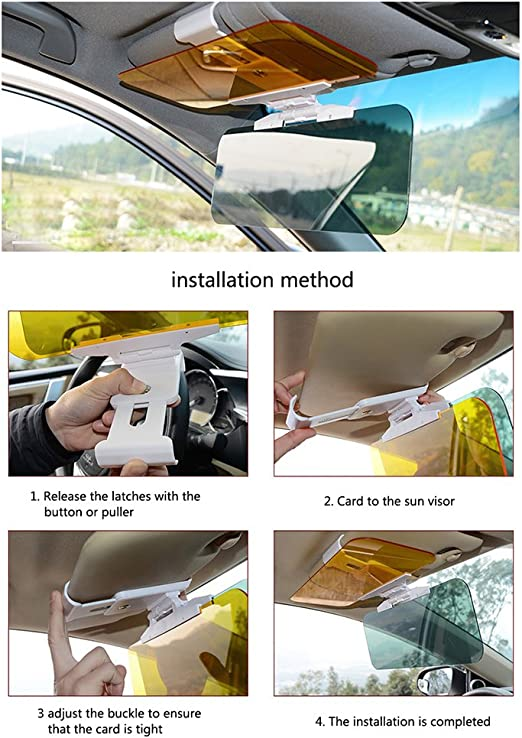 niceEshop TM 2018 Version 2 in 1 HD Day and Night Car Windshield Visor Eye Protector with Anti-UV //Anti-Dazzle//Anti-Glare Windshield Extender Car Sun Visor Extension