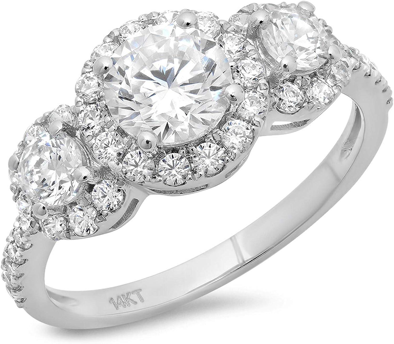 14K Solid White Gold Moissanite Round Cut 6.5mm Moissanite Center Halo Ring Engagement Ring,Anniversary Ring,Promise Ring Art Deco Ring