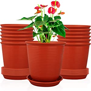 Ufrount Plastic Planter Pot with Drainage Holes, Succulent Planter Pots Planting Pot Flower Pots for Small Plant Perfect for Garden, Kitchen, Windowsill - Set of 12 (Red)