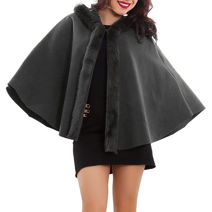 Pelo Mujer De Poncho Chaqueta 2233 Con Capucha Abrigo As Capa BIvBnq5ZU