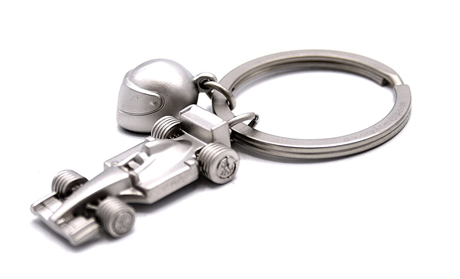 Keychain Formula One Race Car, Sports car silver with helmet.