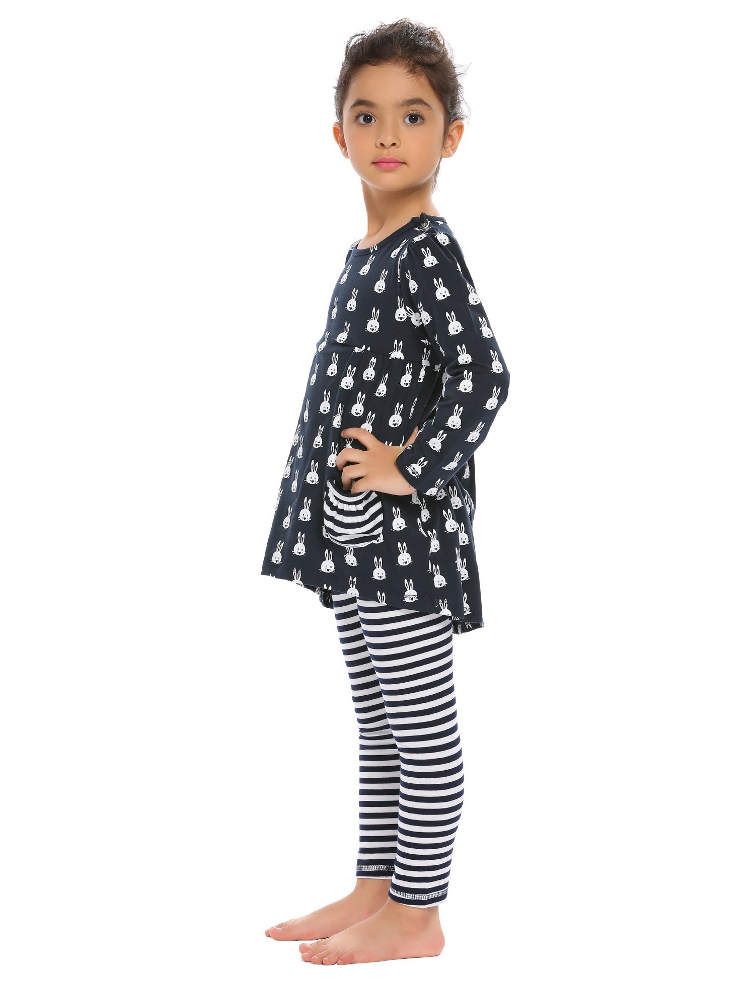 Arshiner Little Girls Long Sleeve Cute Rabbit Print with Pockets Cotton Outfit 12 pcs Pants Sets Top+Legging,Navy Blue,130(7-8years old) by Arshiner (Image #5)