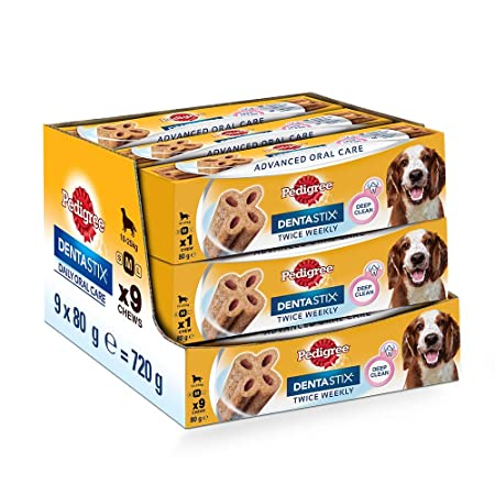 Pedigree Dentastix Advanced Medium Breed (10-25 kg) Oral Care Dog Treat (Chew Sticks) 9 Packs (9 x 80g Sticks) Rawhide at amazon