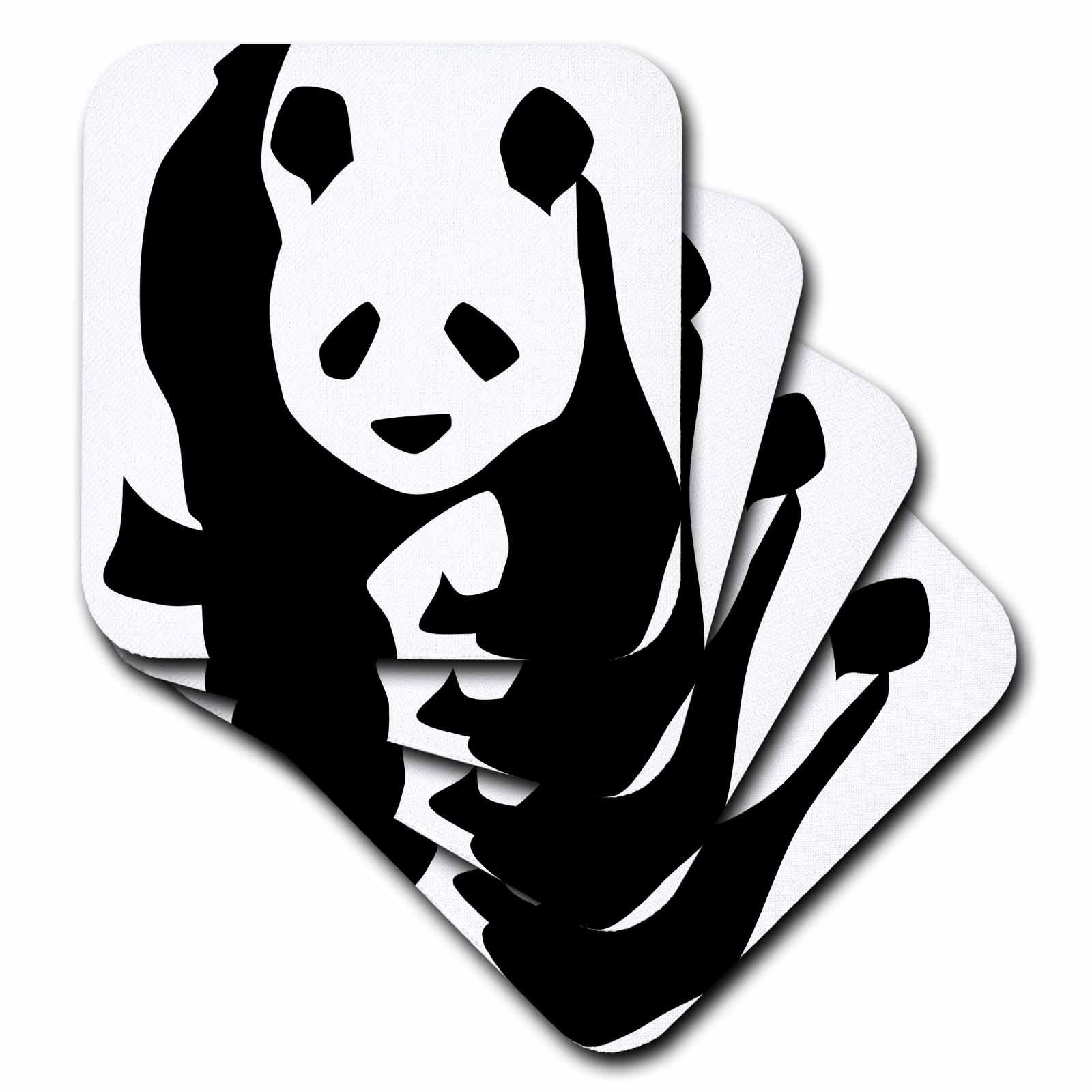 3dRose cst_51358_2 Panda Bear Animals Cute Art Soft Coasters, Set of 8