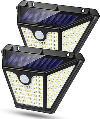 Luz Solar Exterior, [102LED-2200mah] Luces Solares Foco Solar Exterior con Sensor de Movimiento 3 Inteligente Modos, 270°Gran Angular Impermeable IP65 Lampara Solar Exterior Para Jardín (2 Paquete): Amazon.es: Iluminación