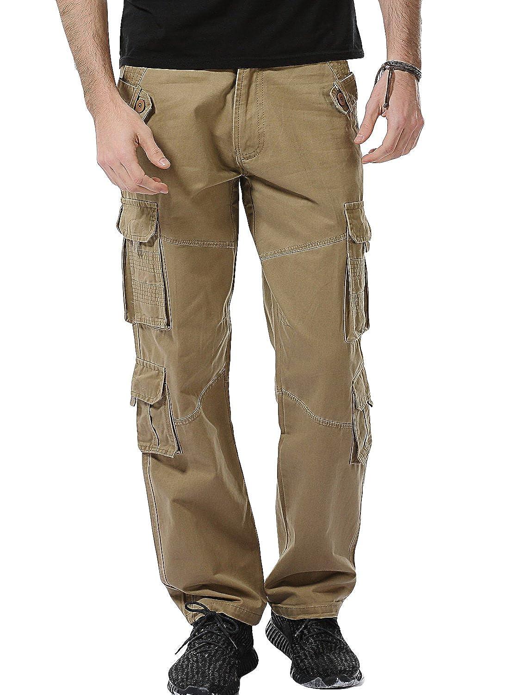Oeak Homme Cargo Pantalon de Travail /Ét/é Vintage Militaire Multi Poches Casual Sport Large