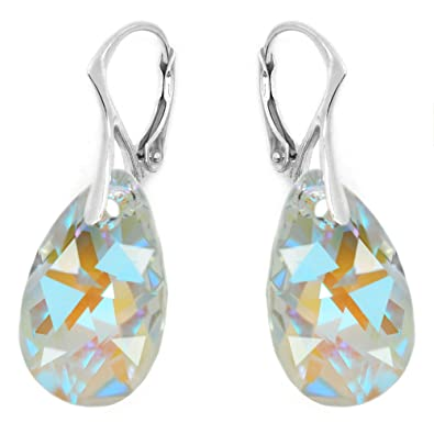 a6505d1da Image Unavailable. Image not available for. Color: Royal Crystals Sterling  Silver Made with Swarovski Elements Blue Aurora BorealisTeardrop Leverback  ...