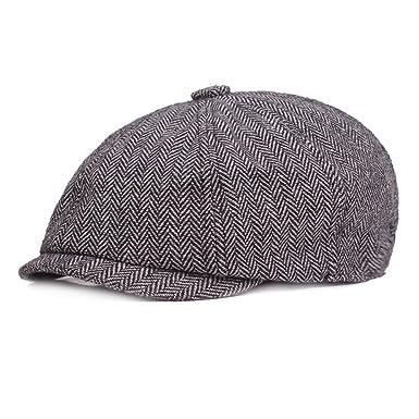 01ff802e2c93 VGLOOK Unisex Womens Mens 8 Panel Herringbone Flat Cap Newsboy Bakerboy  Gatsby Vintage Style Hat (Grey): Amazon.co.uk: Clothing