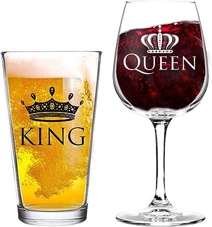 King Bière Queen Verre à Vin Le 16 Verre à Bière 12 75 G Verre De Vin Cool Idée De Cadeau Pour Mariage Anniversaire Jeunes Et Couples Lot De