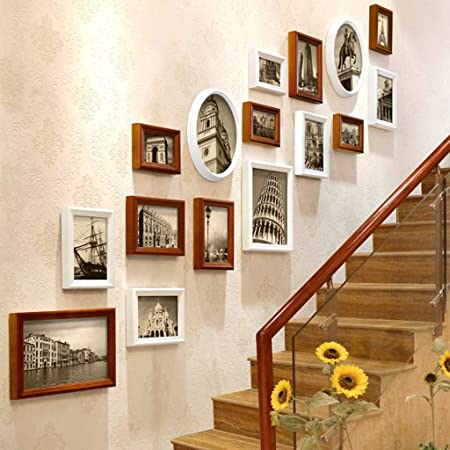 Pared de fotos de marco de fotos de madera maciza, marco de fotos for colgar en