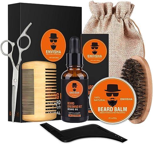 AVEDISTANTE kit para Cuidado de Barba 7 en 1 Crecimiento de la Barba incluye 100% Natural Aceite Bálsamo Cepillo Tijeras Peine Moldeador y Bolsa