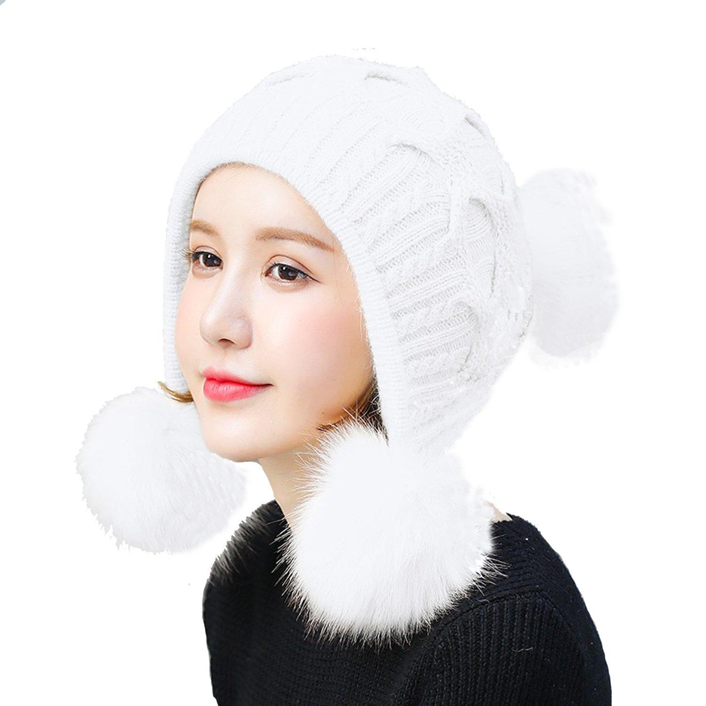 USANDY USADNY Womens Ear Flap Hats With Pom Pom Thick Knit Three Faux Fuzzy Fur Poms Skull Cap Cuff Beanie Caps