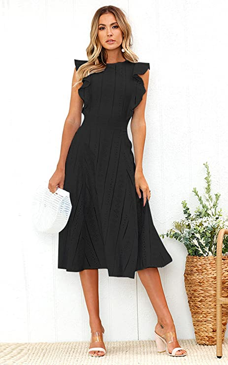 a90d2685c6c ECOWISH Womens Dresses Elegant Ruffles Cap Sleeves Summer A-Line Midi Dress  at Amazon Women s Clothing store