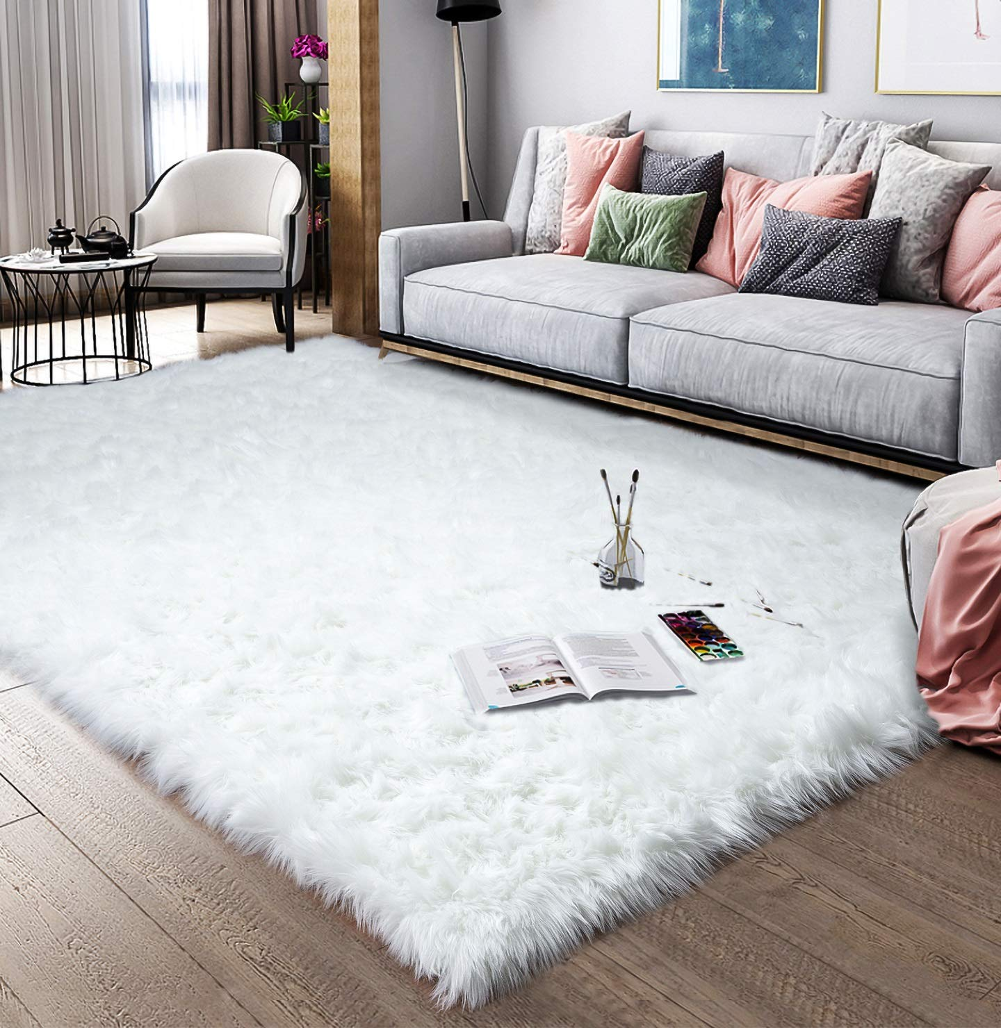 Noahas Faux Sheepskin Area Rugs Silky Long Wool Carpet for Living Room Bedroom, Children Play Dormitory Home Decor Rug, 5ft x 8ft White