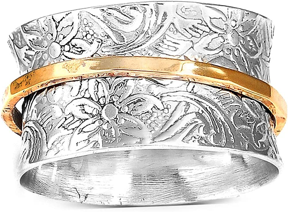 Boho-Magic 925 Sterling Silver Spinner Ring for Women with Brass Fidget Ring Flowers Band
