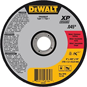 "DEWALT DWA8953F T1 XP CER Fast Cut-Off Wheel, 6"" x 0.045"" x 7/8"""