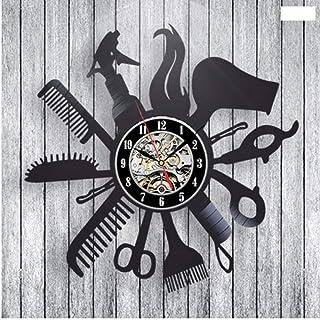 Syhua Coiffeur Barber Shop Record Horloge Murale Art Décor À La Maison Femmes Cadeau Décoratif Record Horloge Murale De Noël