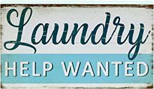 "Barnyard Designs Laundry Help Wanted Box Sign with Sayings Laundry Room Decor 10"" x 5.5"""