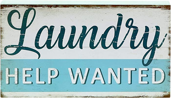 """Barnyard Designs Laundry Help Wanted Box Sign with Sayings Laundry Room Decor 10"""" x 5.5"""""""