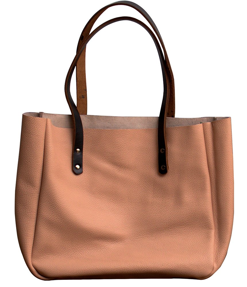 MONT5 Pink Handcrafted Work Tote Bag   Market Tote   Leather Office Tote Women