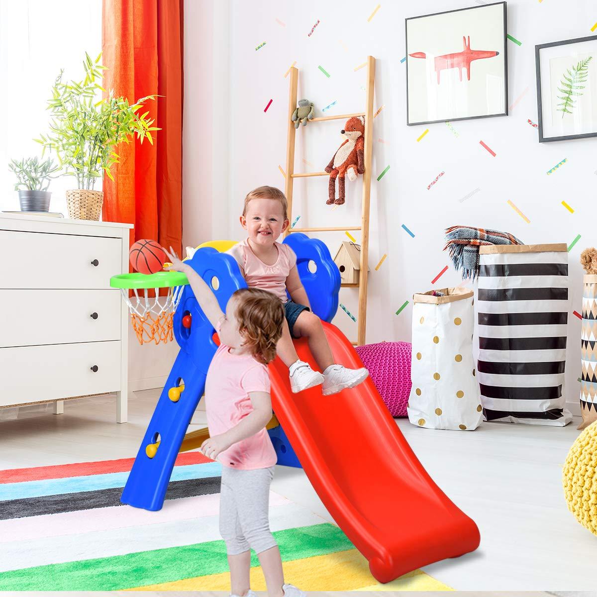 Floral Rail +Basketball Hoop BABY JOY Folding Slide Indoor First Slide Plastic Play Slide Climber Kids