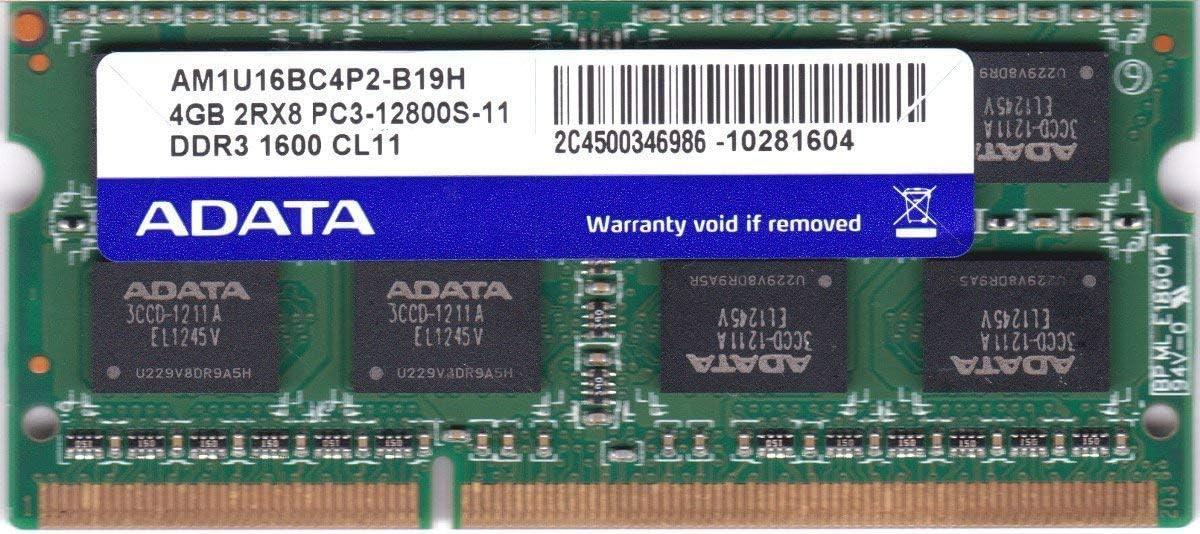 ADATA 4GB DDR3 Memory SO-DIMM 204pin PC3-12800S 1600MHz AM1U16BC4P2-B19H