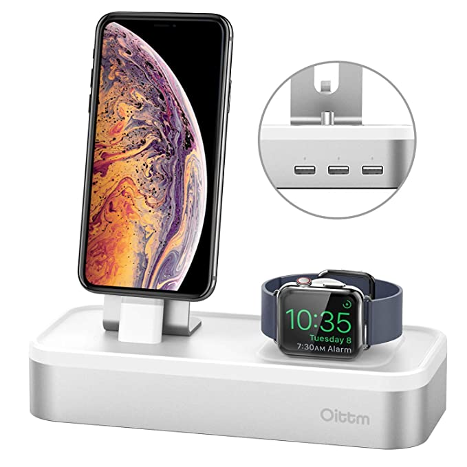 293f42850c7e Charging Stand for Apple Watch Series 4, Oittm [5 in 1 New Version] 5-port  USB Rechargeable Stand for iWatch Series 4/3/2/1, iPhone Xs, Xs Max, Xr, X,  ...