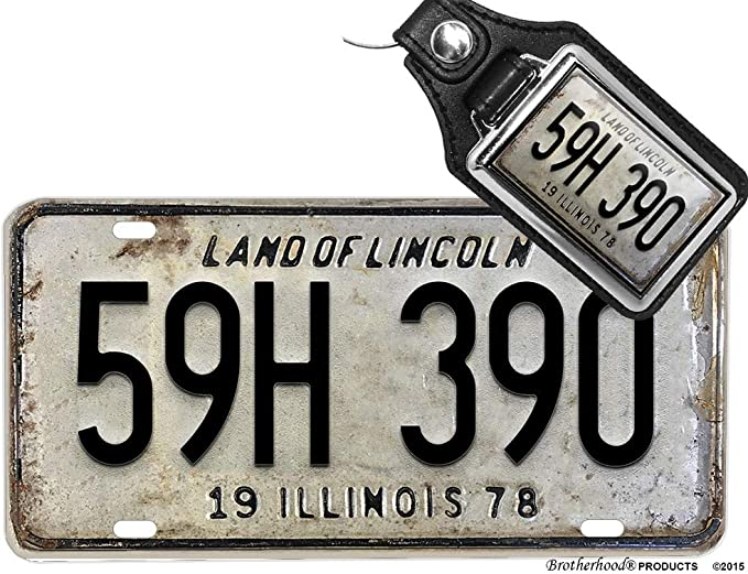 Halloween Michael Myers Illinois License Plate 59H 390 Faux Leather Key Ring
