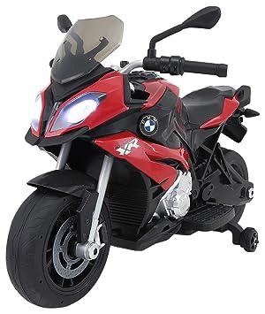 RunRunToys Moto BMW Eléctrica 12V Recomendada a Partir +3 Años con Luces y Entrada para Música, Color Rojo (Herrajes Multimec 4019)