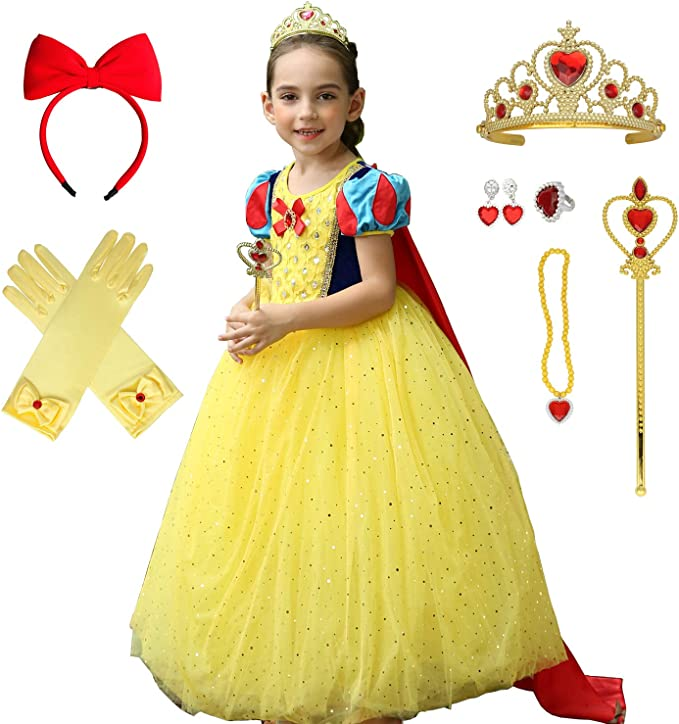 Amazon.com: Princesa Blancanieves Vestido con Accesorios ...