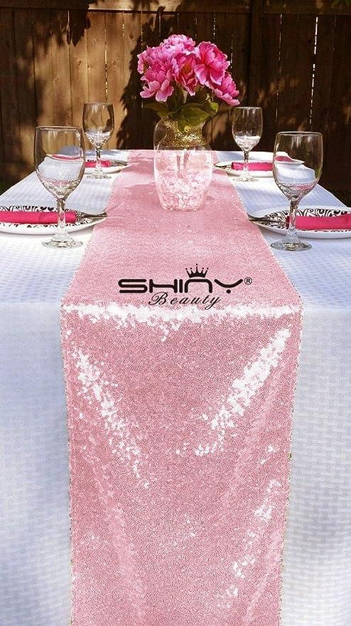 12 x 120-inch-blush pink-sequin camino de mesa Boda Brillante ...