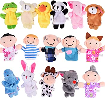 ThinkMax 16 Pack Soft Plush Finger Puppets Set