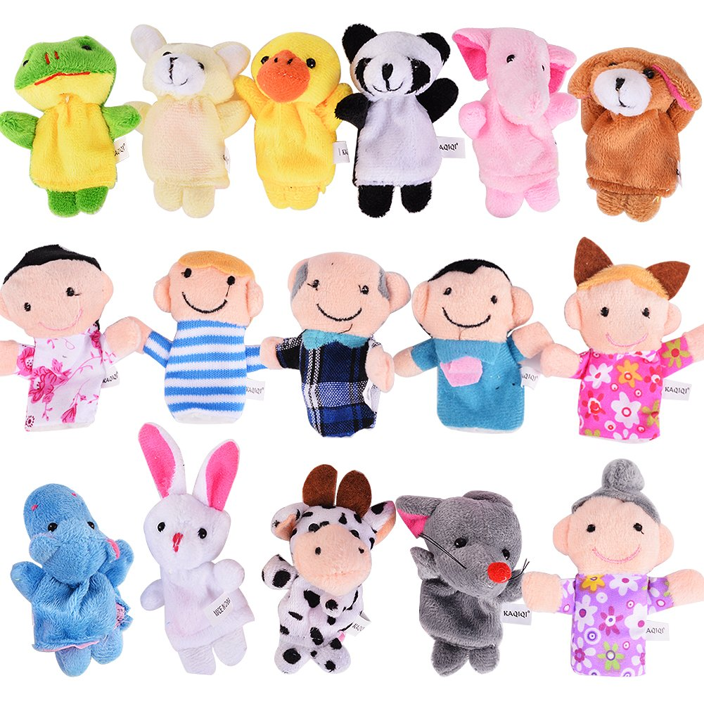 ThinkMax 16 Pack Soft Plush Finger Puppets Set - MANSA 10 Animals + 6 People Family Members Velvet Cute Toys Children, Story Time, Shows, Playtime, Schools (16pcs)