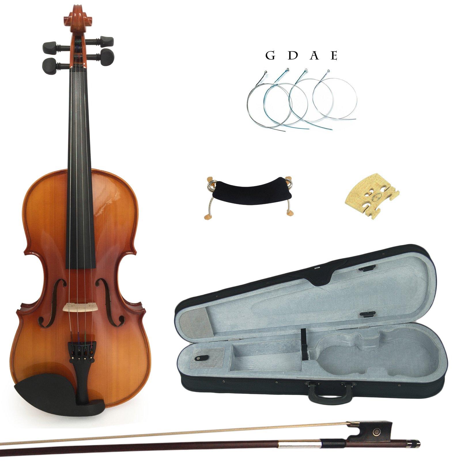 Kinglos PJB1002 4/4 Full Size Solid Wood Student Acoustic Violin Fiddle Starter Kit