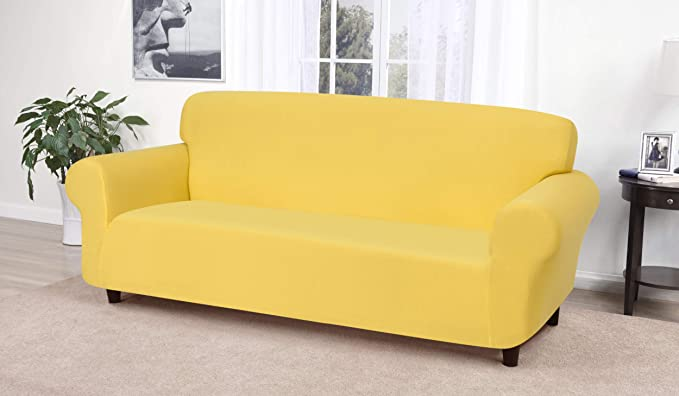 Madison Stretch Jersey Sofa Slipcover, Solid, Yellow