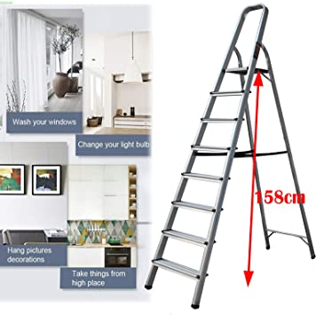 Escalera plegable con patas antideslizantes de aluminio ligero y resistente, capacidad de 330 libras de capacidad para oficinas de mejora del hogar EN131 de seguridad: Amazon.es: Bricolaje y herramientas